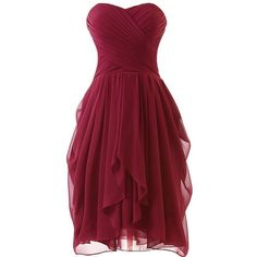 Dress U Womens Ruched Bridesmaid Dress Short Prom Dresses ($67) ❤ liked on…