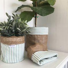 Klassieke eend ei stripe Hessiaan pot plant tas door restoregrace