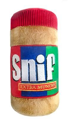 Snif Extra Munchy Peanut Butter Jar power plush dog toy by Lulubelles. Available in two sizes — Small x x or Large x x Cute Dog Toys, Small Dog Toys, Best Dog Toys, Small Dogs, Funny Dog Toys, Cute Dog Stuff, Funny Dogs, Toys For Dogs, Gifts For Dogs