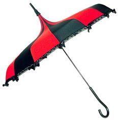 Hilarys Vanity Gothic Umbrella, Striped Gothic Parasol / Rain Umbrella - Red and Black