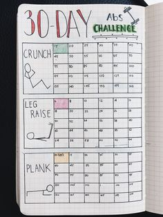 Bullet Journal   30 Day Fitness Challenge Tracker- stay dedicated and commited with this Bullet Journal Tracker idea by Yuka Suzuki