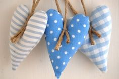 Christmas Heart Decorations – Set of 3 in Blue Fabrics with Linen String
