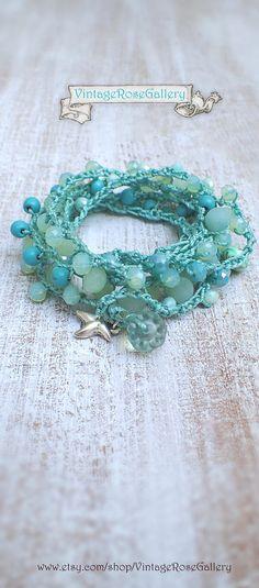 Aqua Mint 6 Wrap Crocheted Bracelet,  #VintageRoseGallery #etsy Crochet Boho Chic Necklace, Summer Boho Necklace by VintageRoseGallery