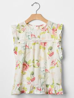 Floral lace-trim flutter top | Gap