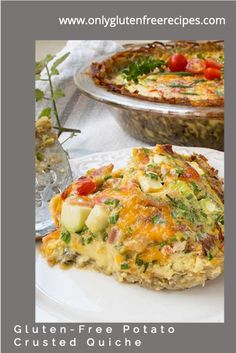 This quiche is one of those dishes that will please everyone. Just think, a thin crust made with grated roasted potatoes, filled with a silky smooth and creamy custard and fresh veggies. If you are looking for some smokiness, add chopped cooked bacon or ham, or if you prefer, seafood add smoked salmon. #quiche #glutenfree #brunch Gluten Free Breakfasts, Gluten Free Recipes, Best Pie Crust Recipe, Salmon Quiche, Delicious Recipes, Yummy Food, How To Cook Mushrooms, Thin Crust, Gluten Free Dinner