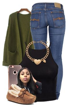 """Untitled #2799"" by alisha-caprise ❤ liked on Polyvore featuring Nudie Jeans Co., Estradeur, GUESS and UGG Australia"