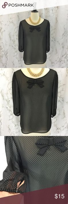 LC Lauren Conrad sheer polka dot bow collar top LL Lauren Conrad for Kohl's bow front sheer polka dot blouse. Size Small. 3/4 sleeves. Button and loop back closure. Approximately 23.5 inches long, 18 inches armpit to armpit.  Shown with red vintage skirt and leopard heels also for sale in closet bundle and save!  Please ask any questions. Offers welcome. Thanks for shopping my closet! LC Lauren Conrad Tops Blouses