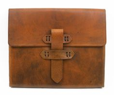 Leather iPad Case in Antique Tan with Baseball Stitch Detail / Julie Boyles