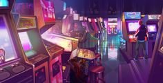 The Glory Days - The Arcade by axl99 on DeviantArt  This takes me back to another time when the quarter decided what you would play for that day.   Game On!  #retroarcade #retrogaming