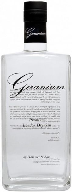 Geranium Premium London Dry Gin - the highest awarded gin 2010.  Geranium and gin together, a stroke of genius. Haven't tried this one yet but a liqueur with sugar, rose geranium and gin is great and easy to make.