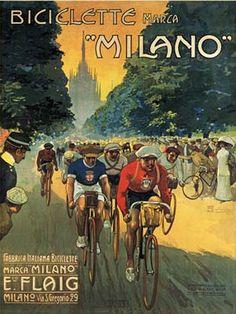 Vintage Italian Posters ~ By Osvaldo Ballerio (Milano 1870 - Azzate 1942), 1912, Biciclette Milano. (I)