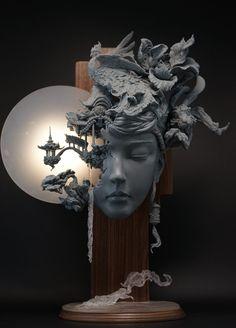 Sculpture Dreamlike Landscapes Grow from Sculptural Portraits by Yuanxing Liang Colossal Art, Sculpture Clay, Art Sculptures, Sculpture Portrait, Surrealism Sculpture, Sculpture Painting, Sculpture Ideas, Modern Sculpture, Oeuvre D'art