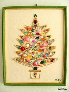 rhinestones, buttons and sequin tree