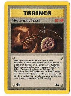 FREE SHIPPING MYSTERIOUS FOSSIL TRAINER POKEMON CARD 1st EDITION