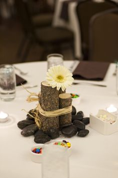 Love the wood and daisy tied with twine.... Don't care for the rocks. Love M&M's too!
