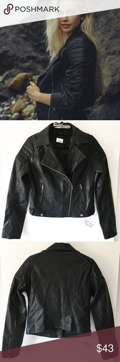 """BNWT black Sunny faux leather jacket Outer fabric: 100% polyurethane Inner lining: 100% polyester 20"""" length, 17"""" bust  ❌ Lowball offer will get yourself blocked  Brandy Melville Jackets & Coats"""