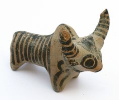 Indus Valley style archaistic painted pottery idol bull