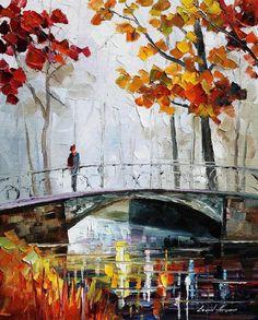 Leonid Afremov     knife painting (bridge, trees)