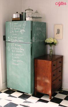 chalkboard paint fridge + dresser