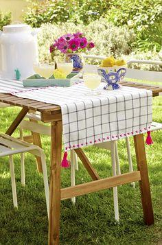 diy tassel tablecloth -IKEA hack