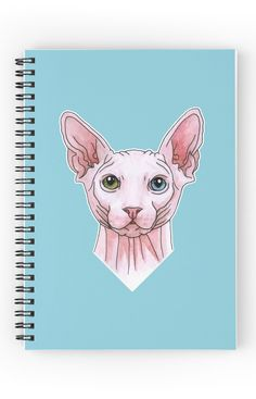 """""""Sphynx cat portrait"""" Spiral Notebook by Savousepate on Redbubble #spiralnotebook #journal #stationery #sphynx #cat #drawing #watercolor #white #pink #blue #green"""