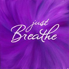 """This is a 10x10 inch square print of my original acrylic painting featuring the inspirational quote """" #just breathe"""" on a beautiful purple background. This artwor..."""