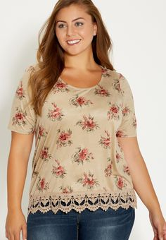 plus size crochet trim tee - #maurices
