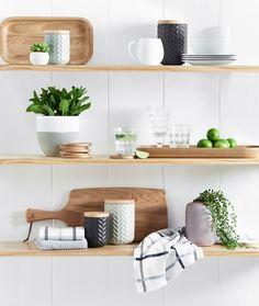 Kitchen inspiration | we're loving natural wood details on open shelving  #kitchendecor #homestyle #bedbathntable