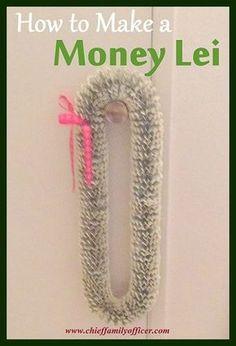 Tutorial: How to Make a Money Lei Chief Family Officer Money Lei, Money Origami, Origami Art, Money Cake, Origami Jewelry, Earn Money, Hawaiian Crafts, Hawaiian Leis, Creative Money Gifts