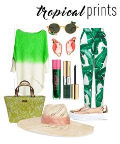 """""""Shades of Green and Rose Gold"""" by clairecoloursme on Polyvore featuring Dolce&Gabbana, Kate Spade, River Island, Lipstick Queen, Eugenia Kim, Yves Saint Laurent, tropicalprints and hottropics"""
