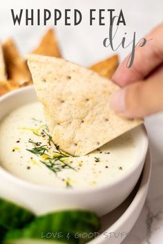 Whipped feta dip with greek yogurt, lemon and dill. This easy to make dip is perfect for dipping veggies or pita. Easy Appetizer Recipes, Yummy Appetizers, Easy Snacks, Appetizers For Party, Real Food Recipes, Cooking Recipes, Dip Recipes, Kitchen Recipes, Easy Recipes