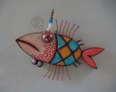 Pineapple Fish, Original Found Object Wall Art, Wood Carving by Fig Jam Studio