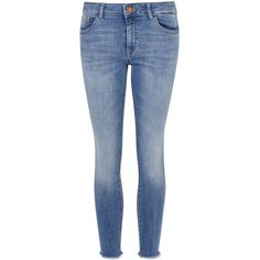 DL1961 Florence Cropped Skinny Jeans - Size W29 ($275) ❤ liked on Polyvore featuring jeans, skinny leg jeans, cuffed skinny jeans, faded blue jeans, faded skinny jeans and super skinny jeans