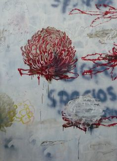 'Waratah' by Australian painter Guy Maestri Oil on linen, 170 x 122 cm. via The Cat Street Gallery Australian Painters, Australian Artists, Modern Art, Contemporary Art, Street Gallery, Large Artwork, Botanical Drawings, Indigenous Art, Printmaking