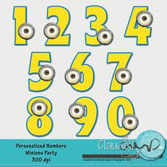 Minions Party Inspired Clipart Numbers 300 DPI от ClaudellCrafts