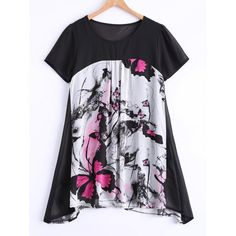 Plus Size Sweet Butterfly Print Asymmetrical Blouse, ROSE RED, XL in Plus Size Tops | DressLily.com