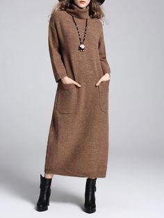 #AdoreWe YIYIQI Pockets H-line Turtleneck Simple Solid Sweater Dress - AdoreWe.com