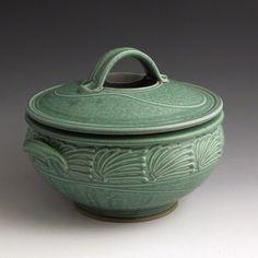 Handmade Pottery Casserole Green Slip-trailed  2-Quart Casserole