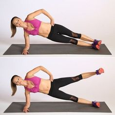 9. Side Plank Lift: Another leg lift variation, this one challenges your entire lower body as well as your arms and core. How