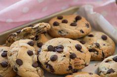 Chewy chocolate chip cookies 2 sticks of butter 3/4 cup white sugar 3/4 cup brown sugar *mix* 2 teaspoons vanilla 2 eggs  *mix* 2 and 1/4 cup flour 1 teaspoon baking soda *mix* 2 cups chocolate chips