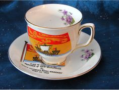 New Brunswick Coat of Arms Teacup and Saucer (Bone China) - 1955
