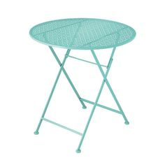 Add a bright spot to your patio furniture with a table in a sweet and striking shade of mint. The lovely tabletop is punched with a lacy pattern of perforations to let through rainwater and cast a char...  Find the Lacy Patio Table, as seen in the Mother's Day Brunch Collection at http://dotandbo.com/collections/set-the-scene-mothers-day-brunch?utm_source=pinterest&utm_medium=organic&db_sku=CBK0105