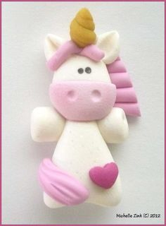 Polymer Clay Bead or Bow Center Unicorn in by michellesclaybeads