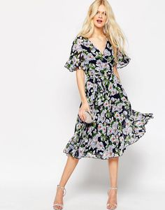 ASOS+Pleated+Wrap+Midi+Dress+In+Floral+Print