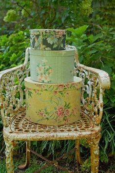 Vintage wallpaper covered storage box