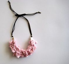 Pink necklace fabric with leather cord shining baby by stellachili, €28.00