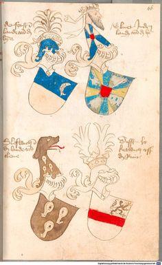 Bruderschaftsbuch des jülich-bergischen Hubertusordens Niederrhein, um 1500 Cod.icon. 318  Folio 46r