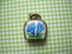 Swiss Cow Bell Charm Pendant-Guilloche by CougarCoveFineGifts