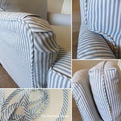 Ticking Stripe Slipcover for Old Drexel Chair chalky blue and white ticking pattern is a medium weight home decor cotton from Magnolia Home Fashions