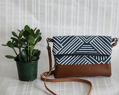 Foldover Crossbody Bag, Simple CrossBody Bag, CrossBody Purse, Everyday Purse, Hobo Handbag, Navy Crossbody Bag, Boho Bag,Gifts for under 50